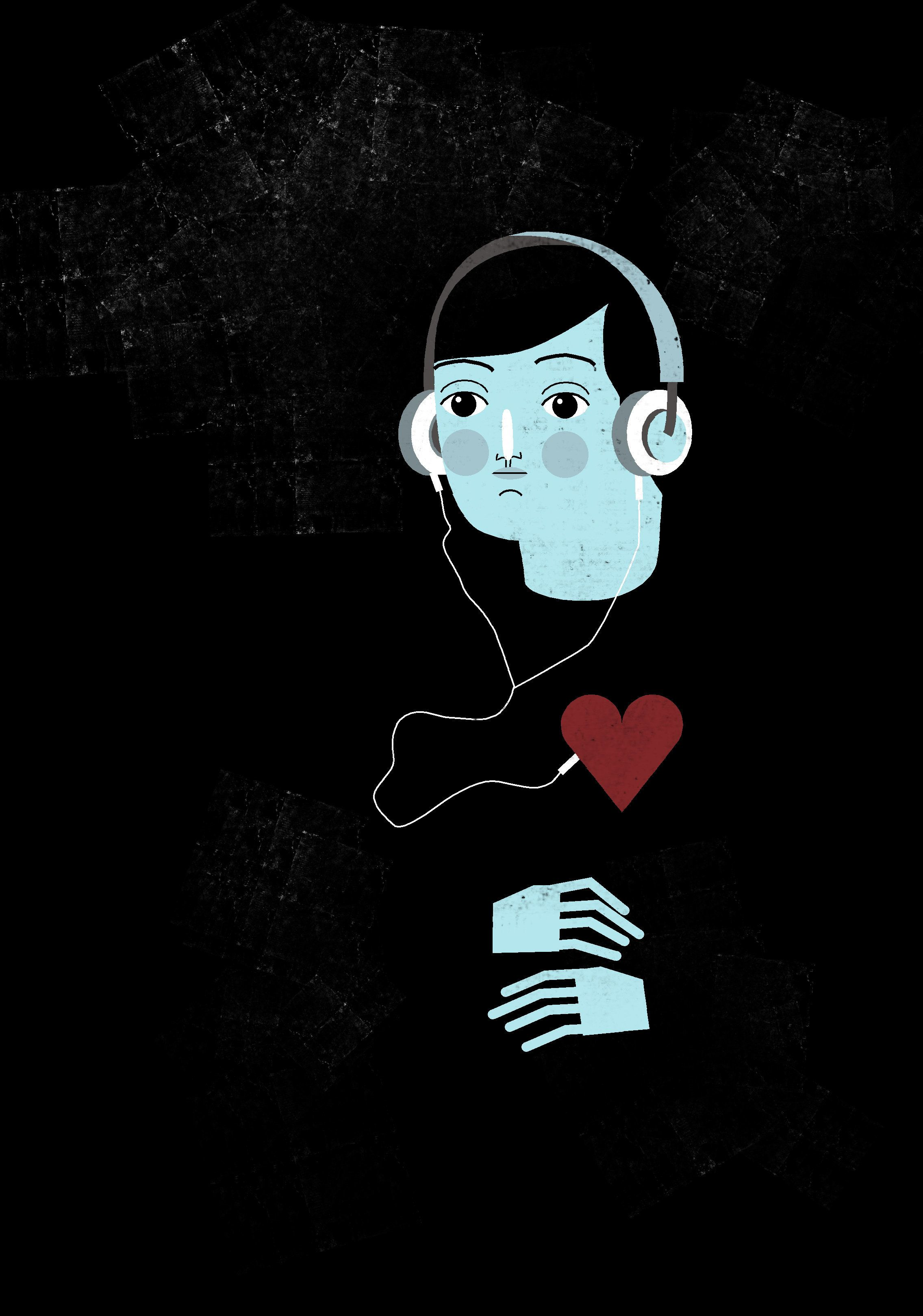Man wearing headphone and it's pin is joint to the heart.
