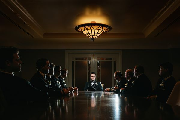 When you hold a serious boardroom meeting with the boss man (a.k.a. groom).