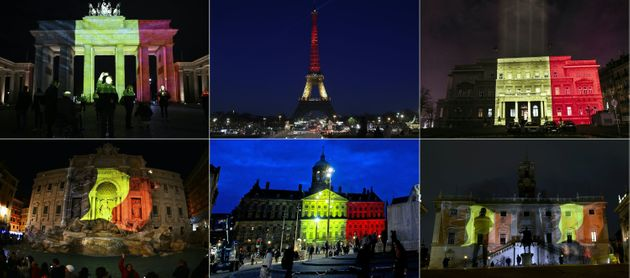 The colours of the Belgian flag being projected on to (from top L) the Brandenburg Gate in Berlin, the...
