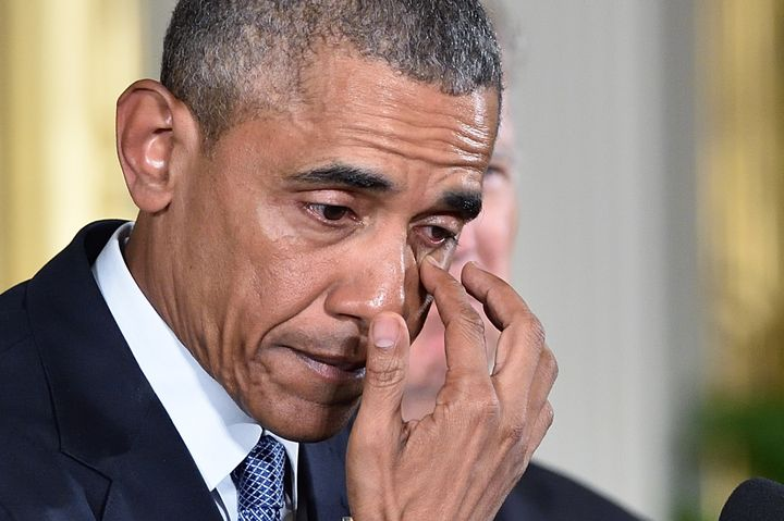 President Barack Obama wipes a tear as he speaks about reducing gun violence on Jan. 5. Some psychologists believe
