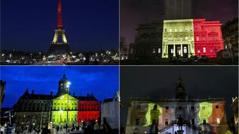 TOPSHOT - (COMBO) This combination of pictures created on March 22, 2016 shows colours of the Belgian flag being projected on to (from top L) the Brandenburg Gate in Berlin, the Eiffel Tower in Paris, the town council building in Belgrade, the Trevi Fountain in Rome, the Royal Palace at Dam Square in Amsterdam and Rome's Campidoglio in tribute to the victims of Brussels following the triple bomb attacks that killed about 35 people and left more than 200 people wounded.  / AFP / AFP AND ANP / Serbia OUT - Netherlands OUT        (Photo credit should read ODD ANDERSEN,LIONEL BONAVENTURE,OKSANA TOSKIC,GABRIEL BOUYS,EVERT ELZINGA,FILIPPO MONTEFORTE/AFP/Getty Images)