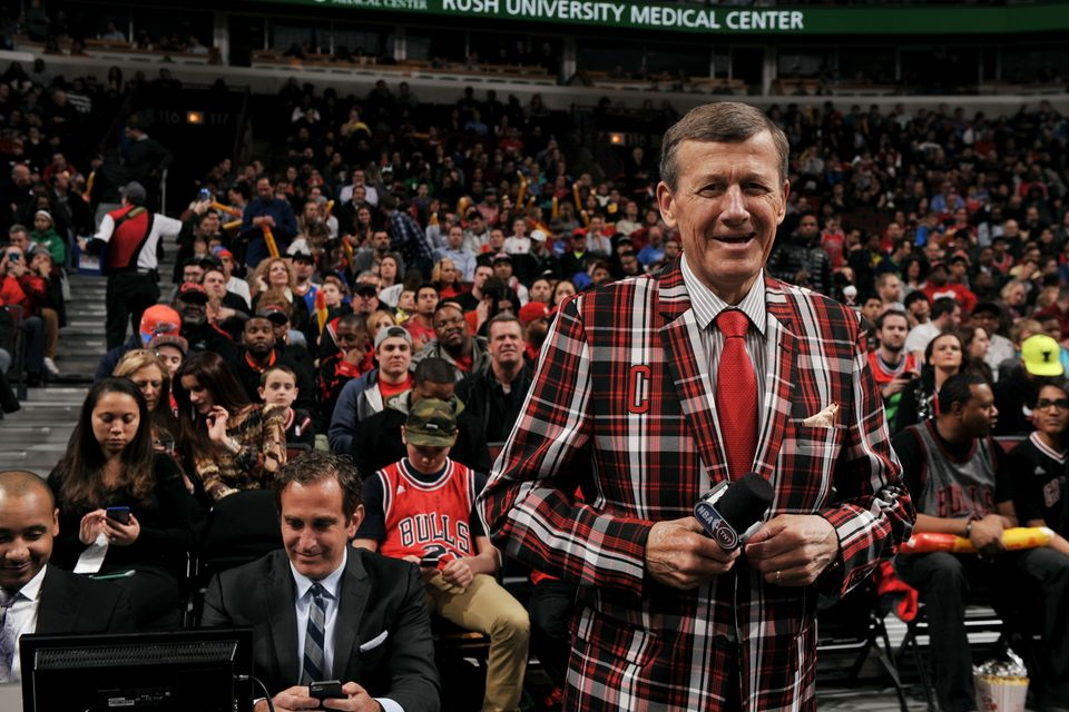CHICAGO, IL - MARCH 05: TNT Reporter Craig Sager is welcomed during a game between the Oklahoma City Thunder and Chicago Bull
