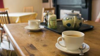 Tea set on table