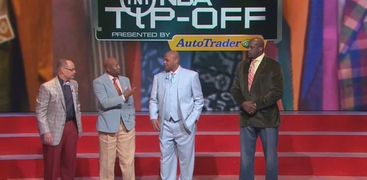 Charles Barkley's power blue suit might be the most Sager-y out of the crew.<i></i>