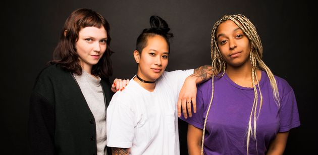 The all-female booking agency called Discwoman is made up ofEmma Olson (L), Christine Tran (C)...