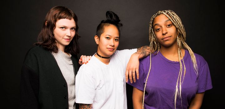 The all-female booking agency called Discwoman is made up of Emma Olson (L), Christine Tran (C) and Frankie Hutchinson (