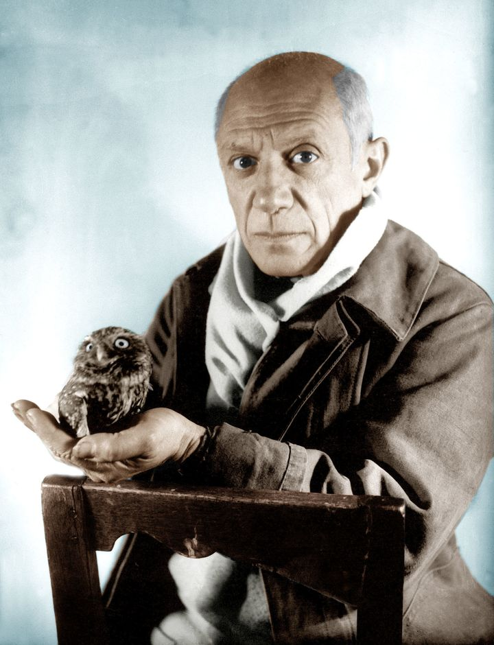 This is Pablo Picasso with an owl. What a narcissist.