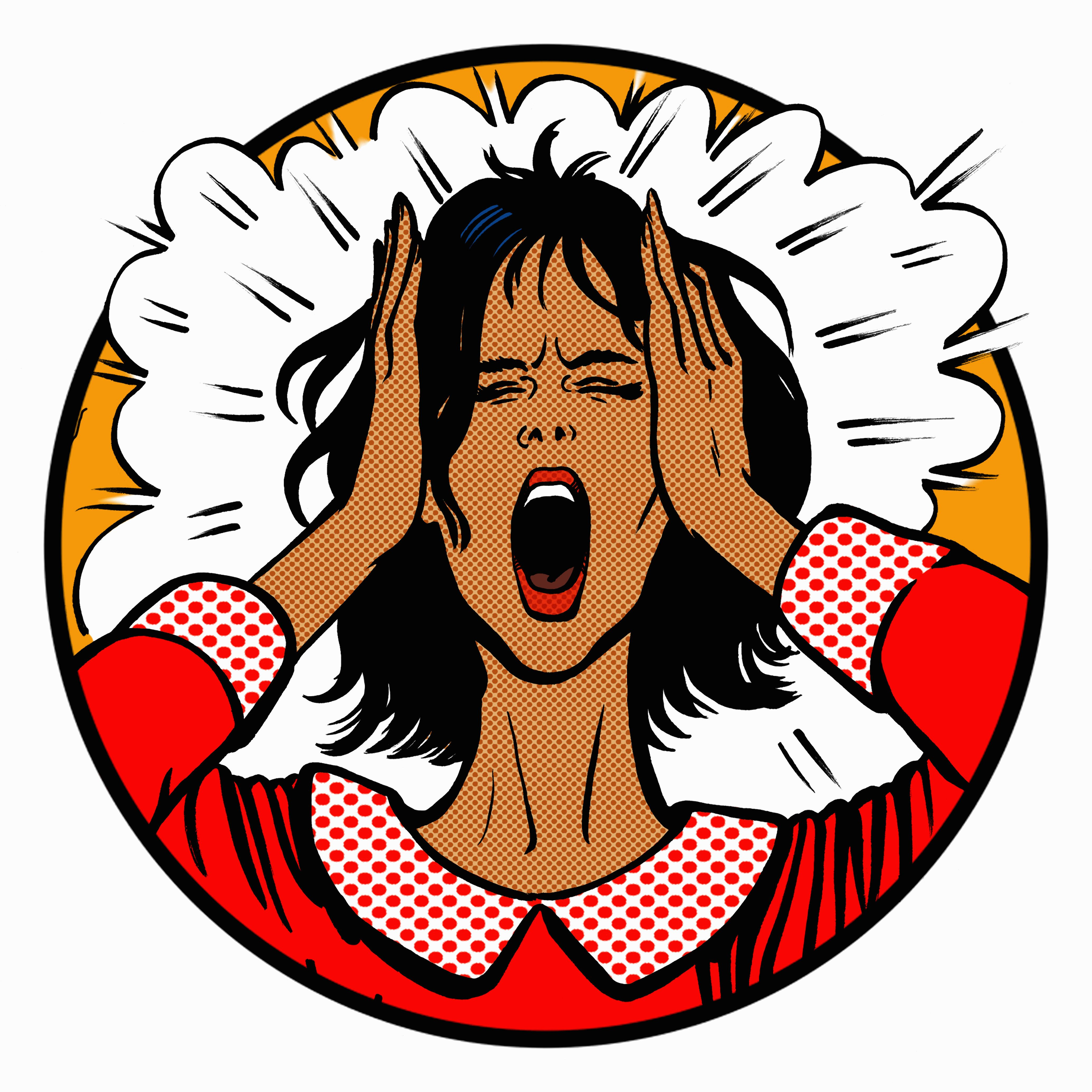 Close up of face of woman screaming with head in hands