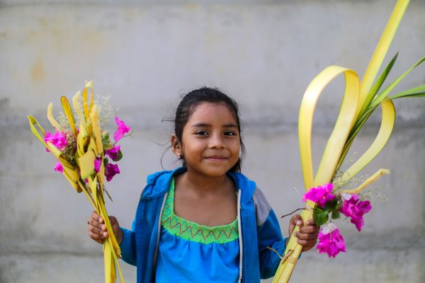 A girl attends Palm Sunday celebrations at the Cathedral of Managua, Nicaragua on March 20.