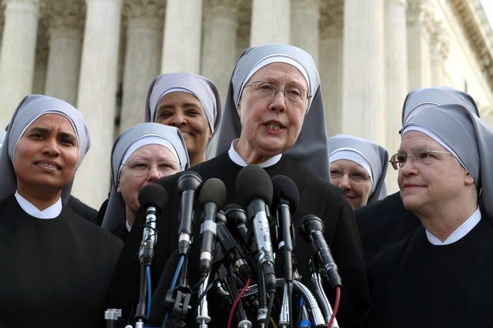Members from the Little Sisters of the Poor speak to the press following Wednesday's oral arguments at the Supreme Court.