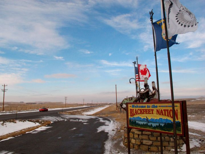 A sign welcoming visitors to the Blackfeet Indian reservation.