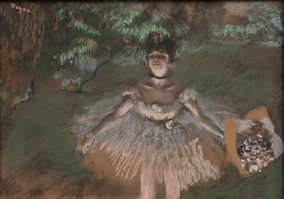 Edgar Degas (French, 1834&ndash;1917). <i>Dancer Onstage with a Bouquet</i>, c.1876. Pastel over monotype on laid paper. Plat