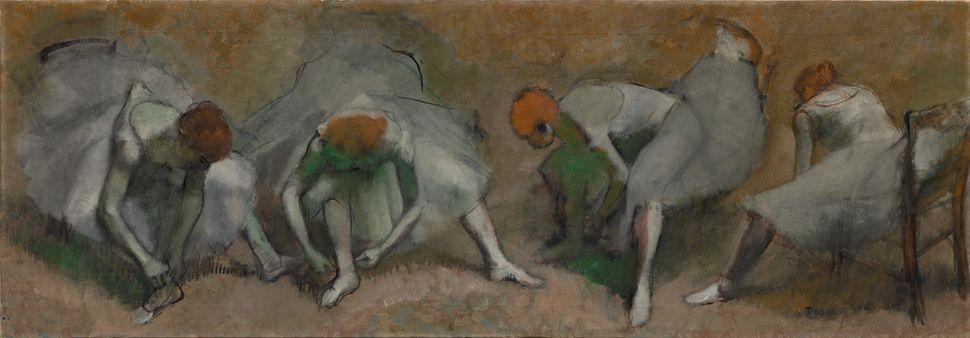 Edgar Degas (French, 1834&ndash;1917). <i>Frieze of Dancers (Danseuses attachant leurs sandales),</i> c. 1895. Oil on fabric.