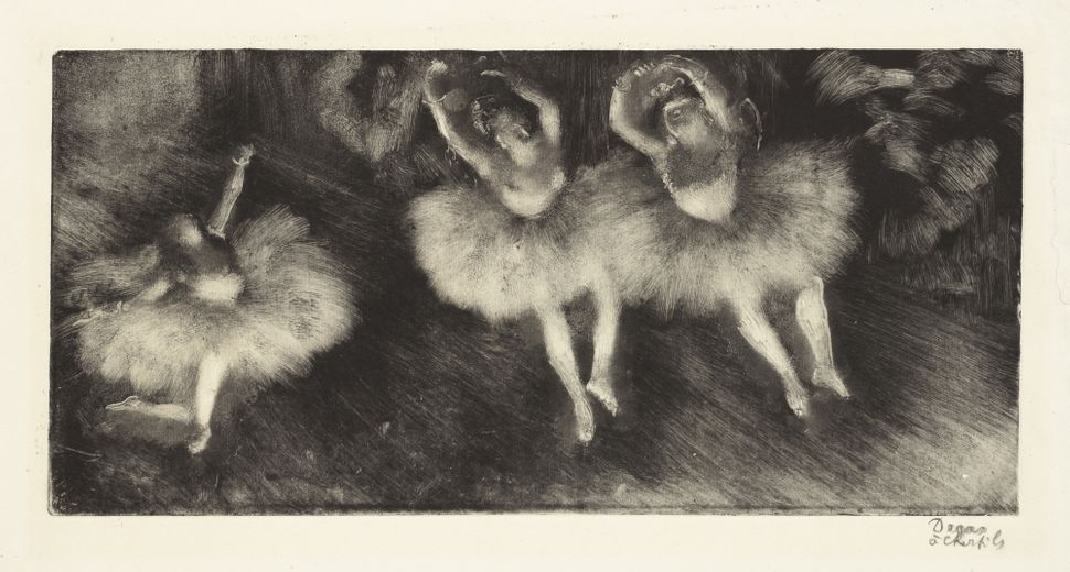 <br>Edgar Degas (French, 1834&ndash;1917). <i>Three Ballet Dancers (Trois danseuses),</i> c. 1878-80. Monotype on cream laid