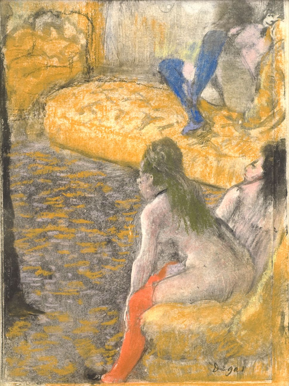 <br>Edgar Degas (French, 1834&ndash;1917). <i>Waiting for a Client</i>, 1879. Charcoal and pastel over monotype on paper. Pla