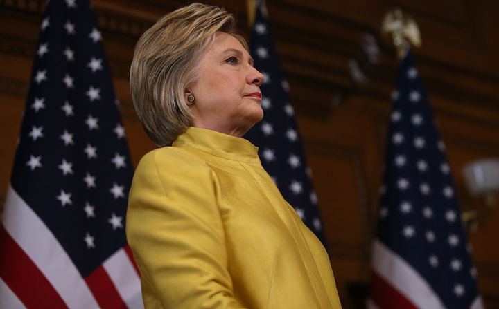 Democratic presidential candidate Hillary Clinton delivers a counterterrorism address at Stanford University on March 23, 201