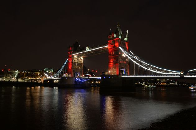 Tower Bridge in central London lit in the colours of the Belgium flag as a tribute following Tuesday's terrorist...