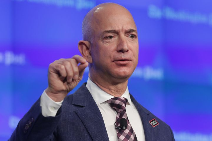 Amazon chief executive and founder Jeff Bezos. His company said Wednesday that men and women employees are paid fairly.