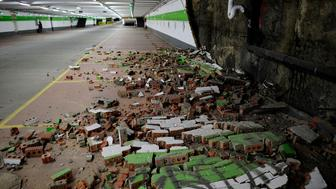 BRUSSELS, BELGIUM - MARCH 22:  Fallen bricks from a wall in a car park are seen following an explosion at Maelbeek metro station following todays attack on March 22, 2016 in Brussels, Belgium. At least 31 people are thought to have been killed after Brussels airport and the Metro station were targeted by explosions. The attacks come just days after a key suspect in the Paris attacks, Salah Abdeslam, was captured in Brussels. on March 22, 2016 in Brussels, Belgium.  (Photo by Alexander Koerner/Getty Images)