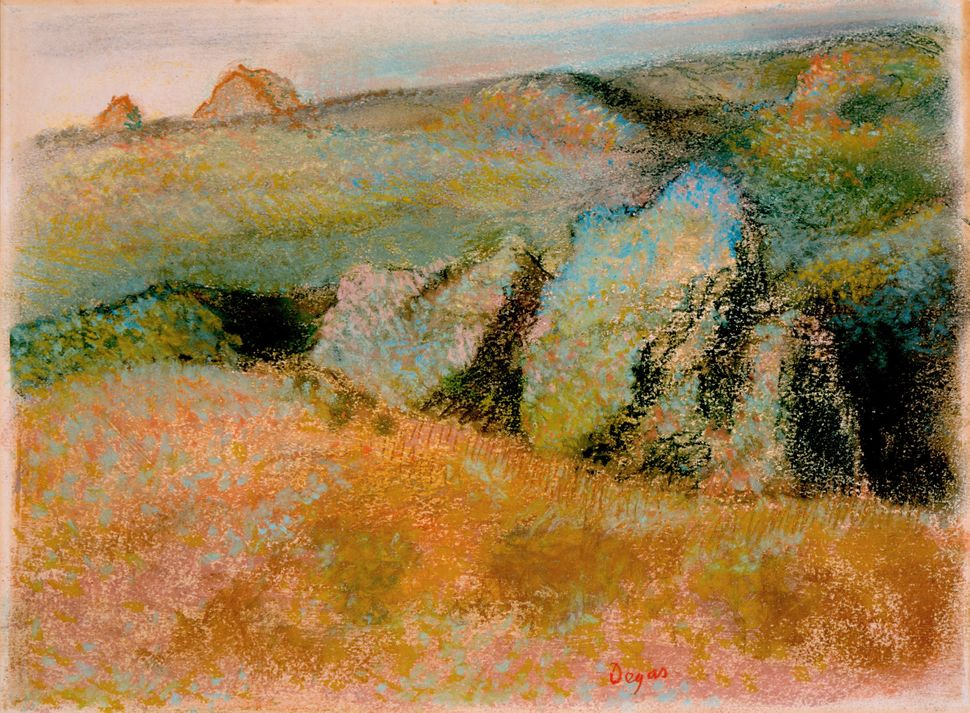 <br>Edgar Degas (French, 1834&ndash;1917). <i>Landscape with Rocks (Paysage avec rochers),</i> 1892. Pastel over monotype in