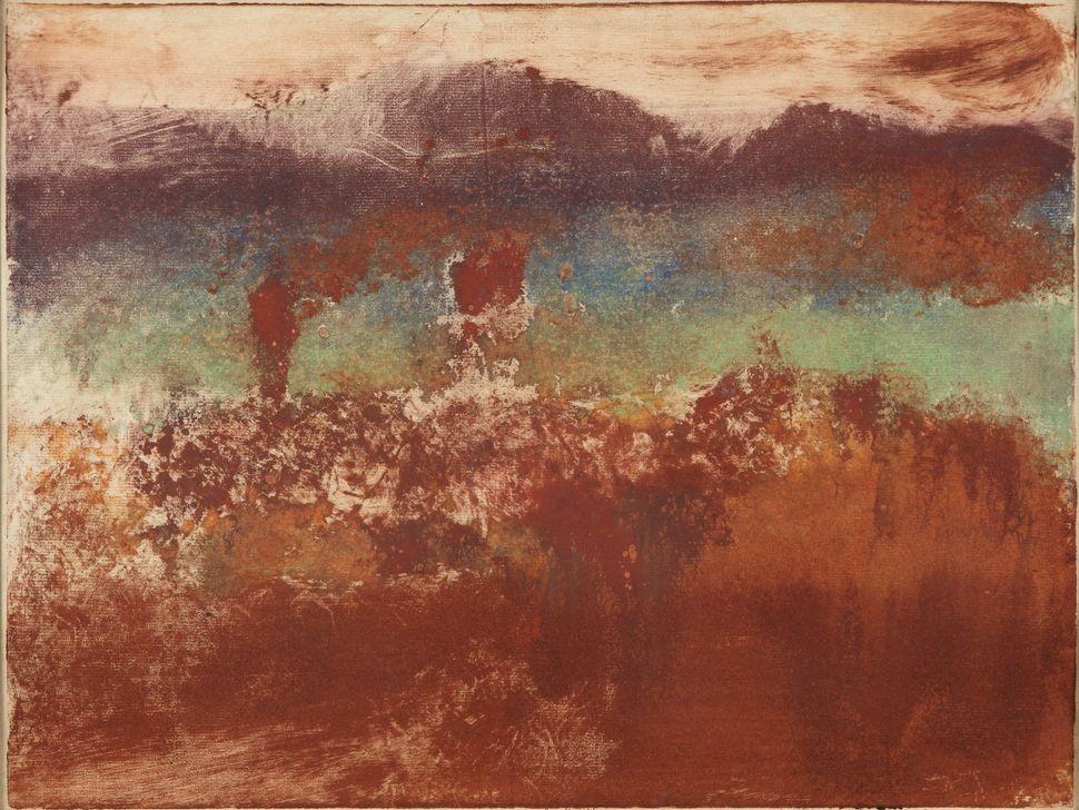 Edgar Degas (French, 1834&ndash;1917). <i>Autumn Landscape</i><i> (L&rsquo;Est&eacute;rel),</i> 1890. Monotype in oil on pape