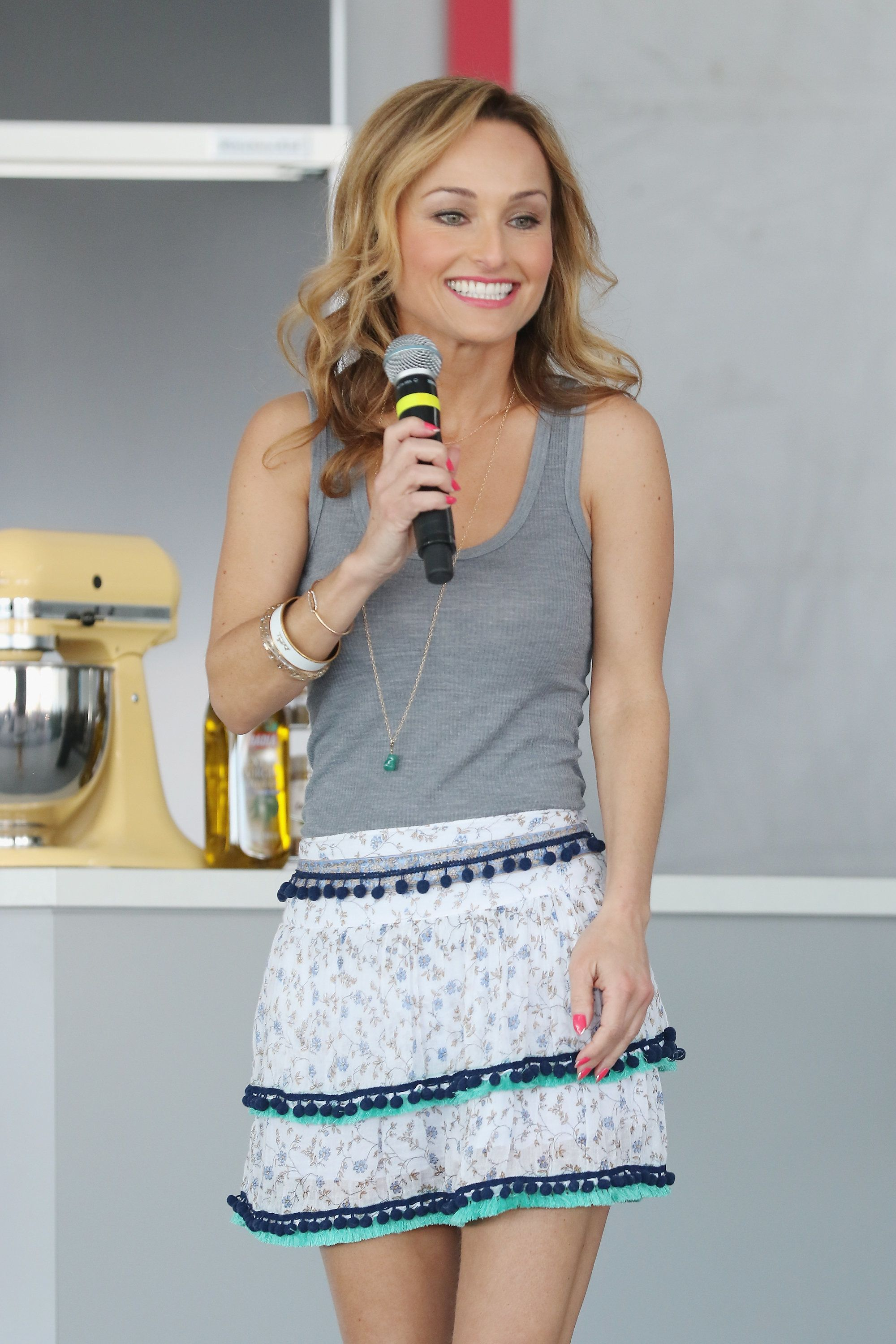 MIAMI BEACH, FL - FEBRUARY 27:  Chef Giada De Laurentiis speaks during the Goya Foods Grand Tasting Village Featuring MasterCard Grand Tasting Tents & KitchenAid® Culinary Demonstrations during 2016 Food Network & Cooking Channel South Beach Wine & Food Festival Presented By FOOD & WINE at Grand Tasting Village on February 27, 2016 in Miami Beach, Florida.  (Photo by Alexander Tamargo/Getty Images)