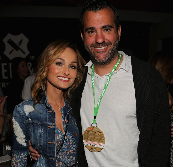 Giada De Laurentiis and Shane Farley attend theBurger Bash beach party held in Miami in February.