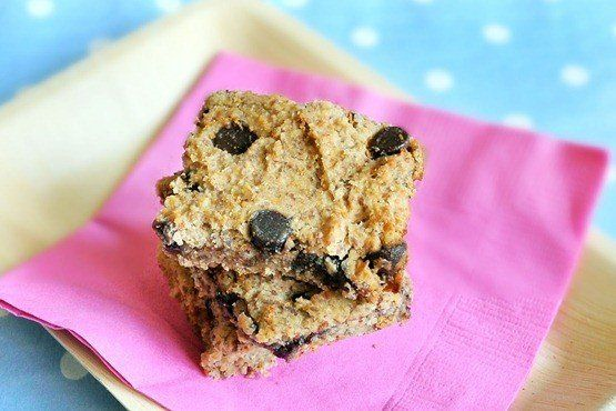 """Get the <a href=""""http://chocolatecoveredkatie.com/2011/05/18/chocolate-chip-blondies-and-theyre-good-for-you/"""" target=""""_blank"""
