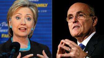 UNITED STATES - OCTOBER 23:  In this combo photograph, Hillary Clinton, left, U.S. senator from New York and 2008 Democratic presidential candidate, speaks at an event at the YWCA in Manchester, New Hampshire, U.S., on Tuesday, Oct. 16, 2007, and Rudy Giuliani, former mayor of New York and a Republican 2008 Presidential candidate, speaks during the Values Voter Summit in Washington, D.C., U.S., on Saturday, Oct. 20, 2007. Hillary Clinton is dominating the 2008 presidential race, fueled by strong backing among women, lower-income voters and minorities.  (Photo by Neal Hamberg - Jay Westcott/Bloomberg via Getty Images)