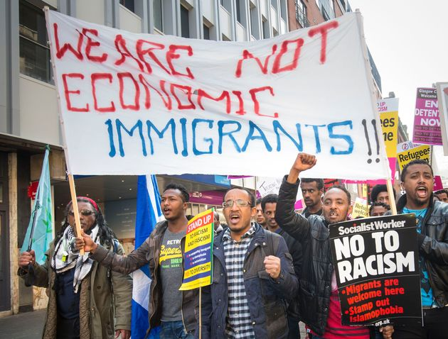Campaigners protestthe response to the refugee crisis from the