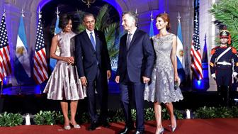 BUENOS AIRES, ARGENTINA - MARCH 23: President of the United States Barack Obama (2nd L) attends a dinner in honor of himself hosted by President of Argentina Mauricio Macri (2nd R) and First Lady of Argentina Juliana Awada (R) together with First Lady of the United States Michelle Obama (L), at Kirchner Cultural Center, in Buenos Aires, Argentina on March 23, 2016. (Photo by Presidency of Argentina Press Office/Anadolu Agency/Getty Images)