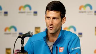 KEY BISCAYNE, FL - MARCH 23:  Novak Djokovic of Serbia fields questions from the media during the Miami Open presented by Itau at Crandon Park Tennis Center on March 23, 2016 in Key Biscayne, Florida.  (Photo by Matthew Stockman/Getty Images)