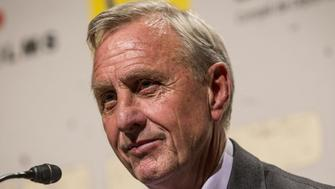 BARCELONA, SPAIN - (ARCHIVE): A file photo dated November 3, 2014 shows Dutch football coach Johan Cruyff delivers a speech during the presentation of the documentary named 'The Last Match' in Barcelona, Spain on November 3, 2014. Dutch football coach Johan Cruyff has died of cancer at the age of 68. (Photo by Albert Llop/Anadolu Agency/Getty Images)