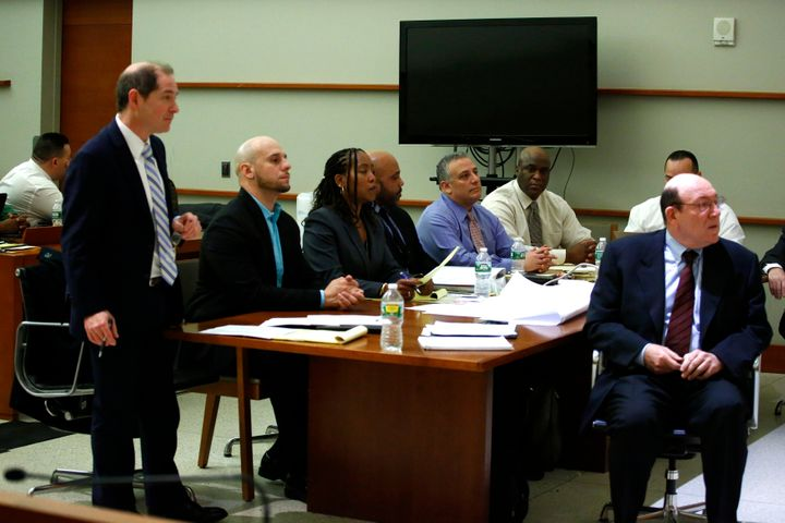 A general view of the courtroom during the trial of nine Rikers Island prison staff accused of viciously beating a black inma