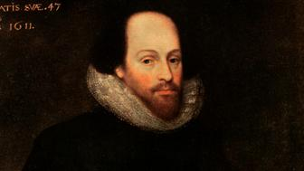 The Ashbourne Portrait of Shakespeare, 16th century. Originally thought to have been of William Shakespeare, the painting is now thought to be a lost Cornelius Ketel portrait of Edward de Vere, 17th earl of Oxford. Illustration from Hutchinson's Story of the British Nation. (Photo by The Print Collector/Print Collector/Getty Images)