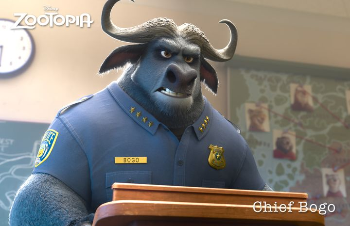 Police chief Bogo is a cape buffalo, voiced by Idris Elba, who doesn't initially think much of bunnies.