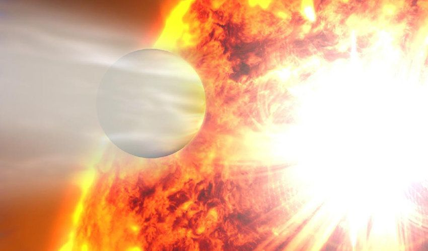 An artist's rendering shows the planet HD 20782, the most eccentric planet ever known, passing its star in close orbit.
