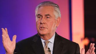 SQUAWK BOX -- Pictured: Rex Tillerson, chairman, president, and CEO of Exxon Mobil Corporation, in an interview on December 3, 2014 -- (Photo by: Martin H. Simon/CNBC/NBCU Photo Bank via Getty Images)