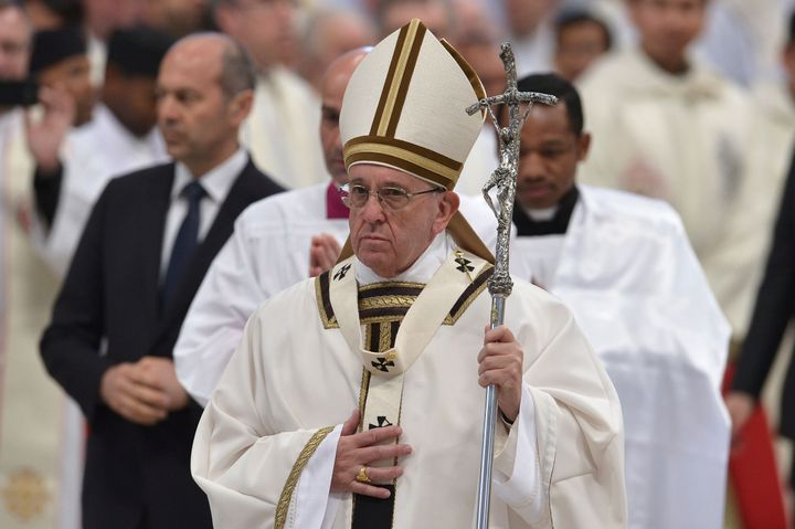 Pope Francis leads the Mass for Holy Thursday on March 24, 2016 at St Peter's basilica in Vatican.