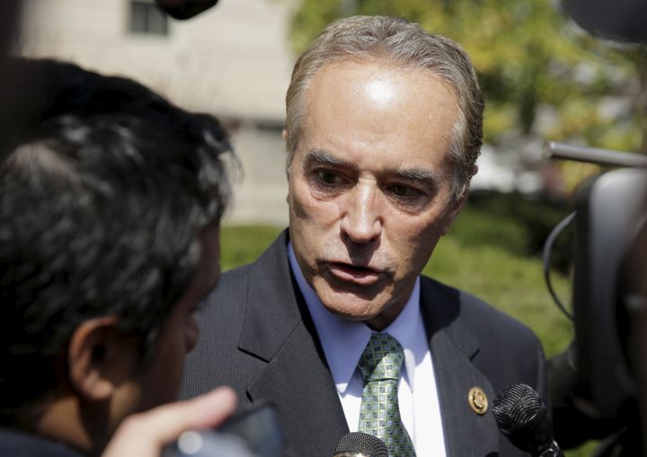 Rep. Chris Collins speaks to the media after a meeting with Donald Trump in Washington on March 21. The New York congres