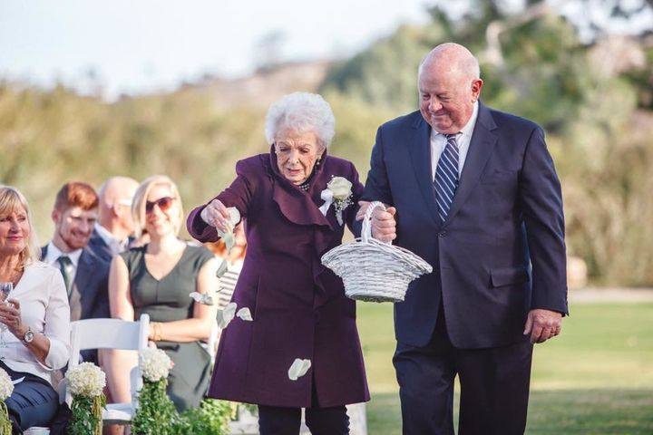 You're never too old to be a flower girl! Grandma Alice is proof.