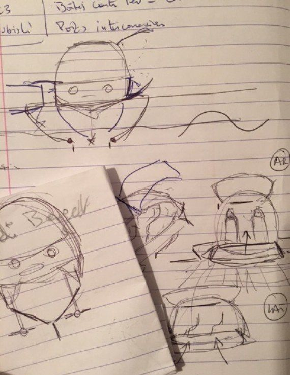 Thébault constantly sketches ideas in his notebook.