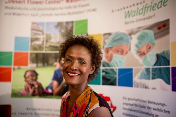 Waris Dirie, model, author, actress and human rights activist of Somali origin attends the opening of a hospital ward in Berl