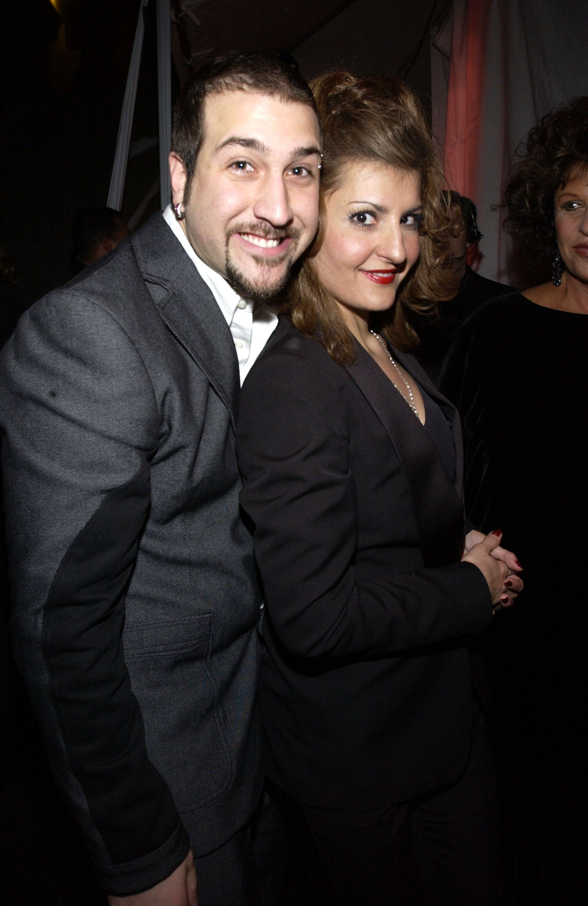 Joey Fatone and Nia Vardalos during The 29th Annual People's Choice Awards - Backstage and Audience at Pasadena Civic Auditorium in Pasadena, California, United States. (Photo by KMazur/WireImage)