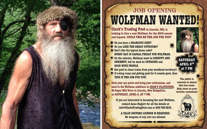 A New Hampshire amusement park is looking to hire a Wolfman who will chase and entertain guests. Timber (left), who served se