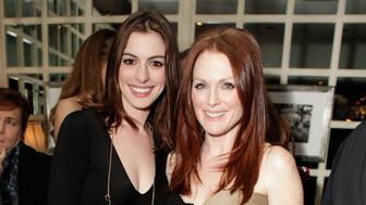 (EXCLUSIVE, Premium Rates Apply) BEVERLY HILLS, CA - JANUARY 14:  ***EXCLUSIVE*** Actresses Anne Hathaway and Julianne Moore attend a cocktail party for 'A Single Man' on January 14, 2010 in Beverly Hills, California.  (Photo by Jeff Vespa/WireImage)