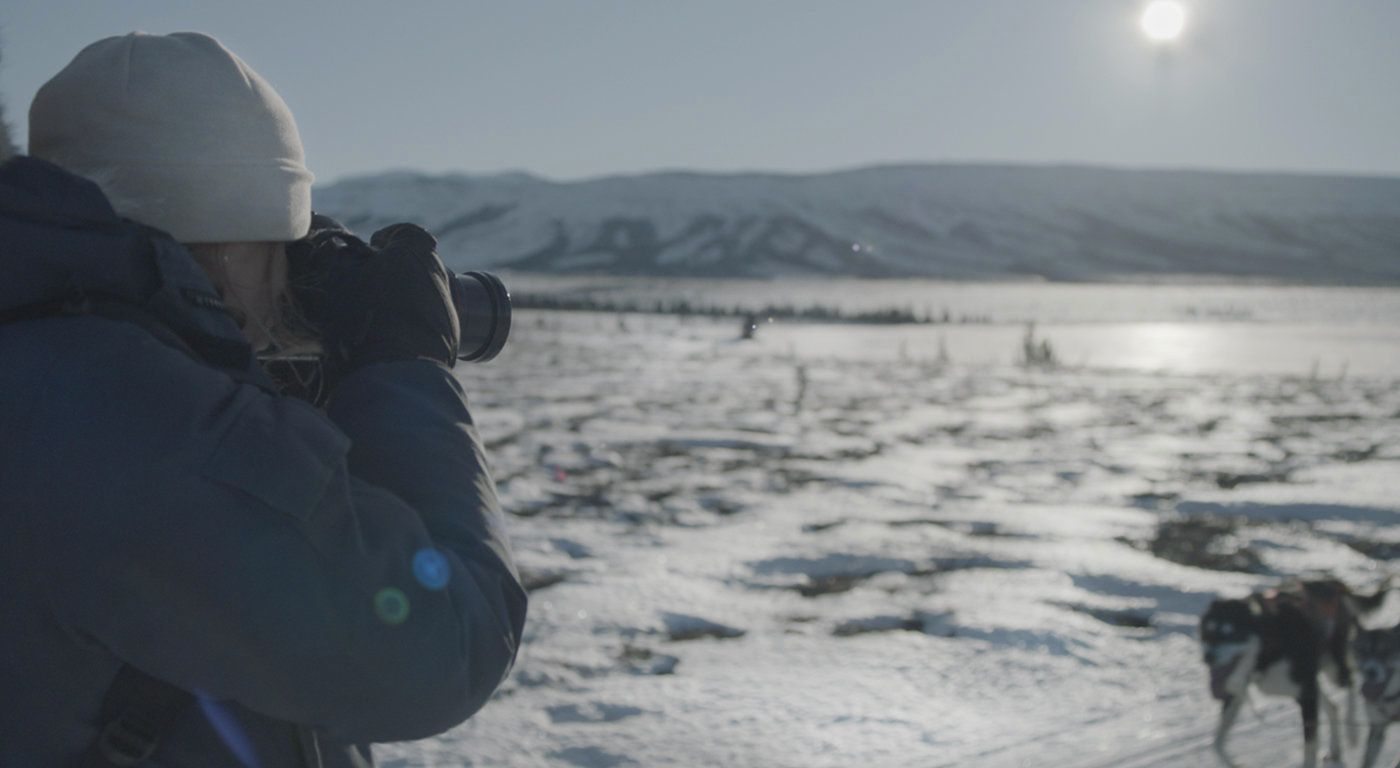 "Katie Orlinsky appears in a still from ""Women in the Wild,"" a documentary about her work by Erin Sanger."