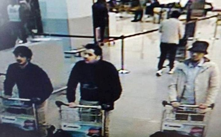 This CCTV image from the Brussels Airport surveillance cameras, which the Belgian police made available, shows three people w