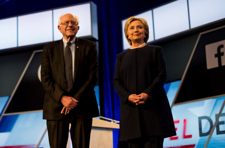 Sanders and Clinton at a Democratic presidential debate in Miami, Florida, earlier this month.