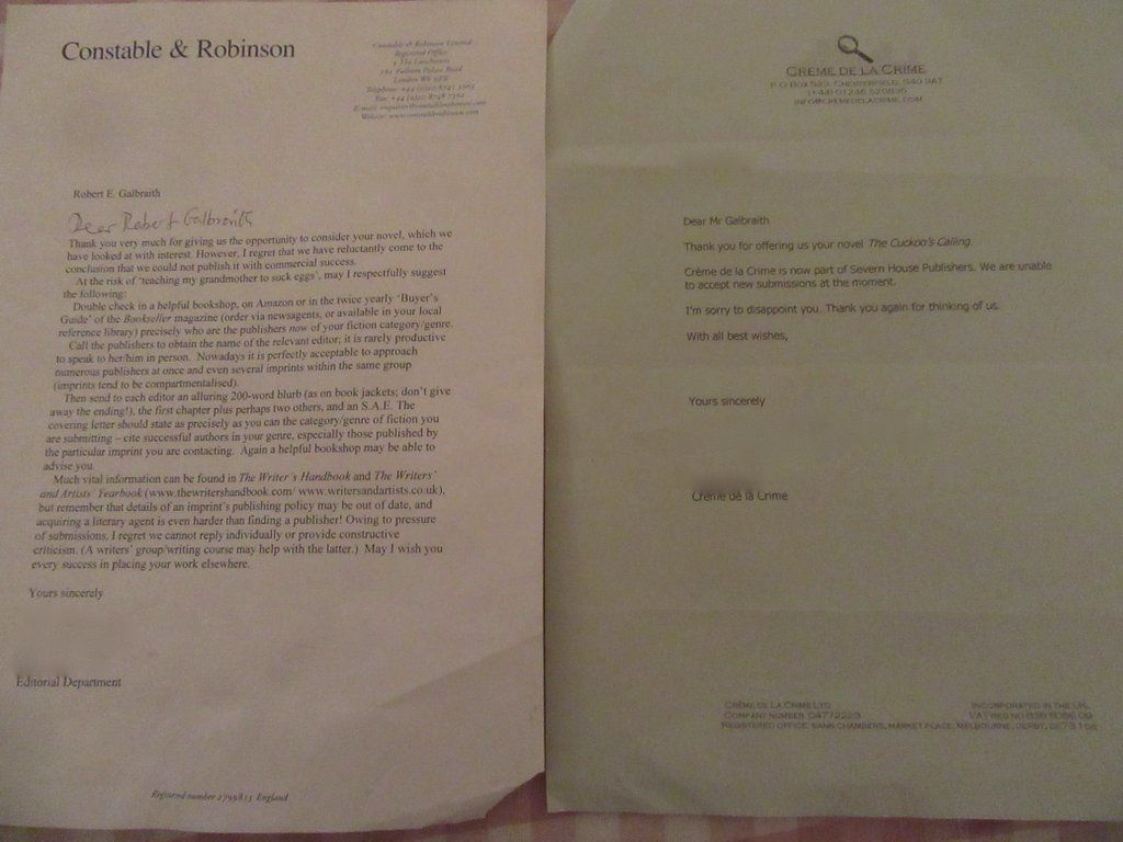 These Are The Rejection Letters JK Rowling Hopes Will Inspire Fledgling